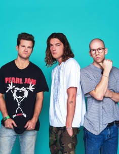 Jake Goss, Paul Klein and Les Priest of the band LANY photographed by Dan Doperalski at the PMC Studio in Los Angeles in June 2017 for WWD